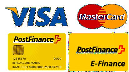 Zahlungsmöglichkeiten: Überweisung, Visa, MasterCard, PostFinance Card, PostFinance E-Finance, TWINT.